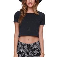 RVCA Can't Stop Crop Top - Womens Tee - Black -