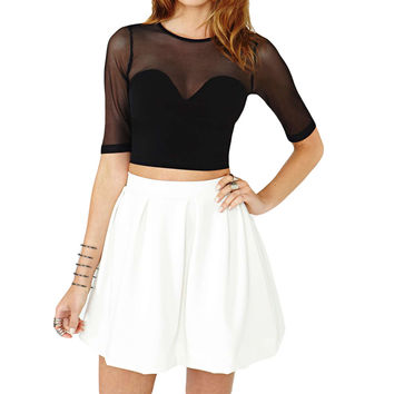 Sexy Women Crop Top Mesh Cutout Sweetheart Neckline Tops Ladies Short Sleeve Tops Black Shirt SM6
