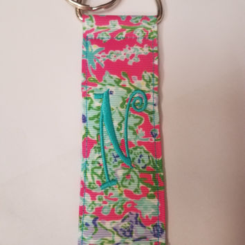 Monogrammed Initial Key Chain-Lily Pink