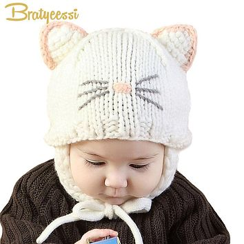 New 2018 Knit Baby Bonnet with Ears Cartoon Handmade Winter Infant Baby Hats Pink/White/Beige for 5-18 Months