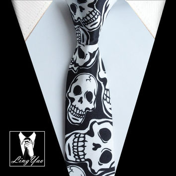 New Arrival 5cm Fashion Narrow Ties HOT Men Casual Party Necktie Black with Scary Skulls Gravata for Halloween