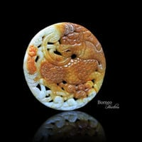 Nephrite Jade Carved Qilin; Prosperity&Serenity Symbol/ Ornate Chinese East Asian Pinyin/ Qílín  2.5""