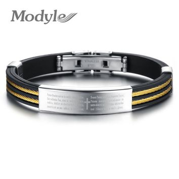 Modyle Fashion Vintage Man Jewelry Cross Bible Design Wire Rope Stainless Steel Bangles Men Silicone Bracelet
