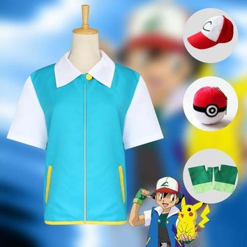 DCCKH6B Pokemon Ash Ketchum Cosplay Costumes Pocket Monster Cosplay Blue Jacket + Gloves + Hat + Ash Ketchum Ball