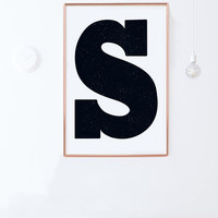 Letter S Poster: Instant Download- Alphabet Poster-Black and White Nursery Decor-Nursery Wall Art, Scandinavian Poster PRINTABLE 24x36,8x10