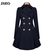 JSEO-2016 New Women's Autumn and Winter Outerwear Coat Trench Slim Double-Breasted Coats Medium-Long Overcoat Plus Size S-2XL