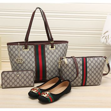 GUCCI 2018 Women's Exquisite Fashion High Quality 4 Piece Bag/Shoe F-KSPJ-BBDL coffee