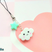 Kawaii star cloud phone charm -  cute resin accessory - With with mint green - sweet lolita - Fairy kei