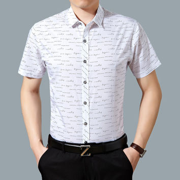 Summer Stylish Cotton Print Shirt Men Short Sleeve Blouse [6544138371]