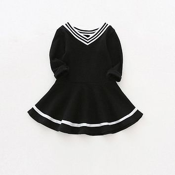 Sun Moon Kids Baby dress preppy style baby girls autumn spring clothes v-neck cotton baby girl birthday infant Dresses for girls