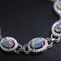 Natural Fire Opal Bracelet - Sterling Silver Genuine Super High Quality Ethiopia