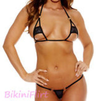 SEXY SKIMPY PEEK A BOO BARELY THERE TINY MICRO MINI THONG BIKINI! BRAND NEW LOOK