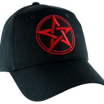 ac spbest Red Wicca Pentagram Hat Baseball Cap Alternative Pagan Clothing Witchcraft