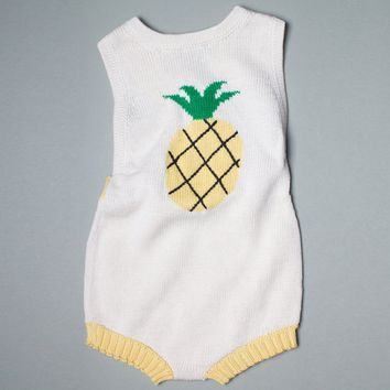 Estella Organic Cotton Baby Romper - Pineapple 0–3M