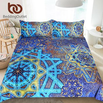 BeddingOutlet Snowflake Bedding Set Mandala Flower Duvet Cover Set Blue Yellow Vintage Home Textiles Bedclothes UK AU USA Sizes