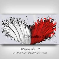 MODERN Wall Art Abstract Painting, Original modern fine art , red and white oil painting wall hanging home decor , Ready to Hang - Nandita