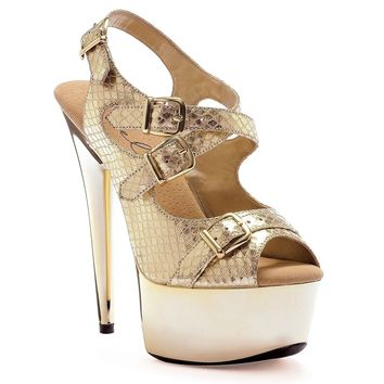 Ellie Shoes E-609-Python 6 Multi Buckle Quilted Stiletto