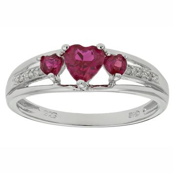 .90 Ct Triple Heart Red Ruby and .018 cttw Diamond 10K White Gold Ring