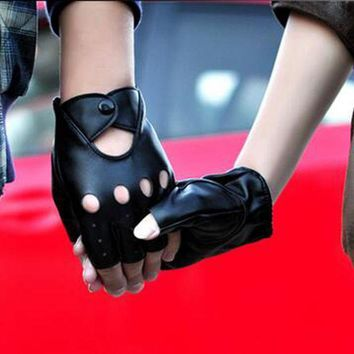 ac PEAPO2Q 2017 Hot Sale Driver Night Club Couples gloves Gothic Punk Rock Show PU Leather Half finger Fitness gloves G207