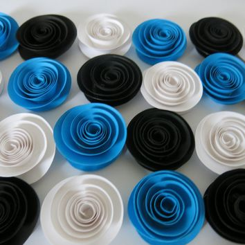 "Black, Blue and White Paper Flowers Set, 24 in a package, Best wedding flower deal, 1.5"" roses, colorful shower decorations"