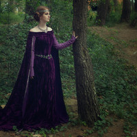 LIMITED EDITION  Queen Elinor medieval costume celtic medieval dark purple velvet dress elven