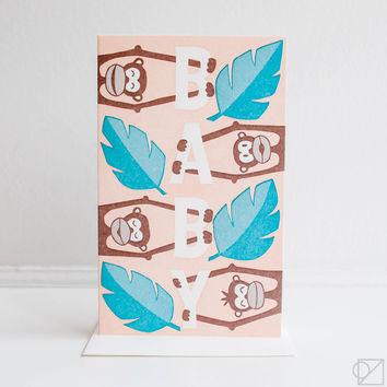 Welcome Baby Monkey Greeting Card