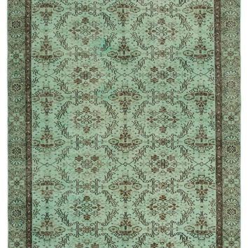 GREEN OVERDYED VINTAGE RUG 4'11'' X 8'6'' FT 150 X 260 CM
