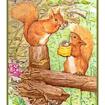 Squirrel Nutkin Chats on the Fence inspired by Beatrix Potter Counted Cross Stitch or Counted Needlepoint Pattern