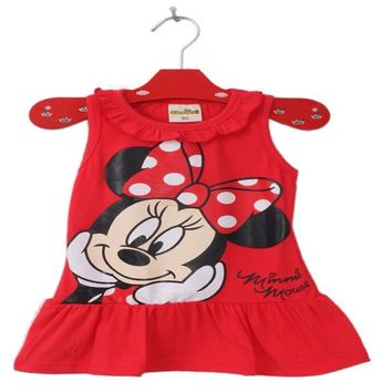 2017 New Baby Girls 2-6 Yrs Summer Dress Girl Cute Minnie Mickey Mouse Sleeveless Dress Girl Casual Dress 46C