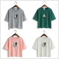 Embroidery Cat Cactus casual t shirt for Women cotton t-shirt short loose style tops