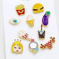 10pc Emoji Hamburger Fries Princess Enamel Pin Set