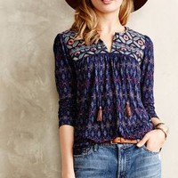 Majorelle Peasant Top by one.september Navy