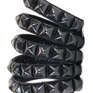 "5 Row Slit Black Pyramid Stud Leather Wristband Bracelet 3"" Wide"