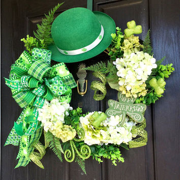 St Patricks wreath, St. Patrick's Day grapevine wreath, front door wreath, wreath for St. Patrick's Day, St. Patrick's day decor
