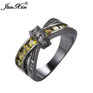 JUNXIN Vintage Jewelry Peridot AAA Zircon Ring Black Gold Filled Crossed Style Wedding Party Engagement Rings For Women Lady