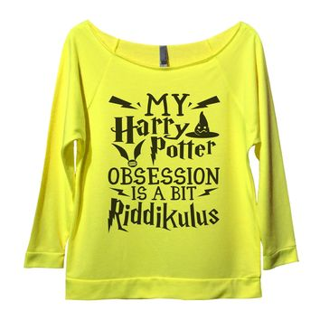 My Harry Potter Obsession Is A Bit Riddikulus Womens 3/4 Long Sleeve Vintage Raw Edge Shirt