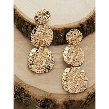 1pair Textured Drop Earrings