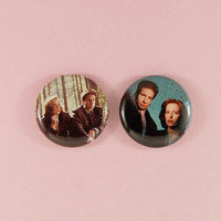 """mulder and scully - 1"""" buttons"""