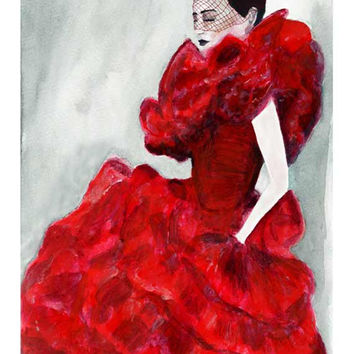 Red Frou Frou Frill Gown Giclee Print from Original Watercolor Fashion Illustration Artwork