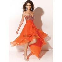 A-Line Strapless Asymmetrical Chiffon Prom Dress SAL1041