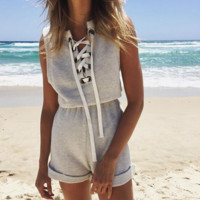 SLEEVELESS BANDAGE SHORT JUMPSUIT