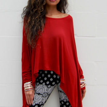 Vida Long Sleeve Drapey Tunic in Red