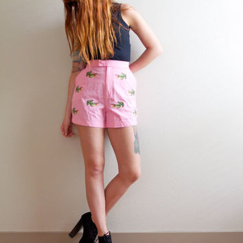 Preppy High Waisted Pink Alligator by NoteworthyGarments on Etsy