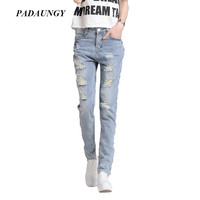 PADAUNGY Ripped Jeans Hole Ankle Length Denim Pants Vintage Jean Sobretudo Feminino Boyfriend Jeggings High Waist Torn Trousers