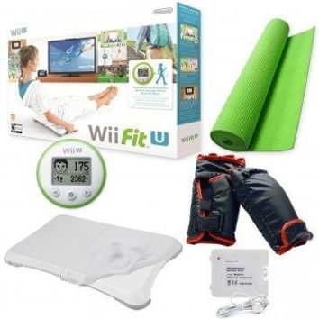 Nintendo Wii Fit U Boxing Bundle-Gloves-Yoga Balance Board-Fit Meter-Silicone Cover-Yoga Mat