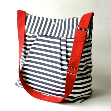 Featured on The Martha Stewart BEST SELLER Diaper bag/Messenger bag STOCKHOLM Navy blue and white nautical striped - Hgtv Baby talk magazine
