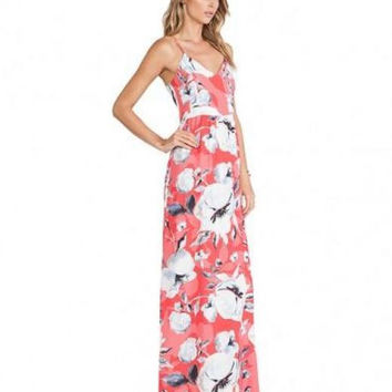 V-neckline Floral Print Dress