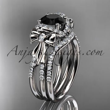 14kt white gold diamond unique engagement set, wedding ring, bow ring with a Black Diamond center stone ADER155S