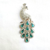 Vintage Clear Pave & Emerald Green Rhinestones Peacock Bird Brooch or Pin