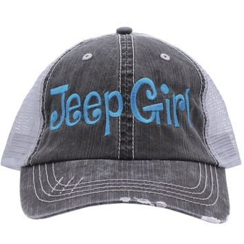 Jeep Girl Embroidered Trucker Style Cap Hat Grey Grey Rocks any Outfit Turquoise